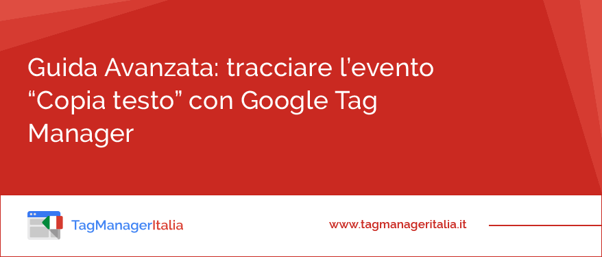 Come tracciare l'evento Copia con Google Tag Manager