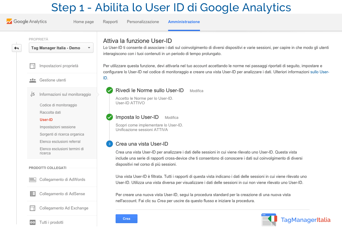 abilita userID google analytics