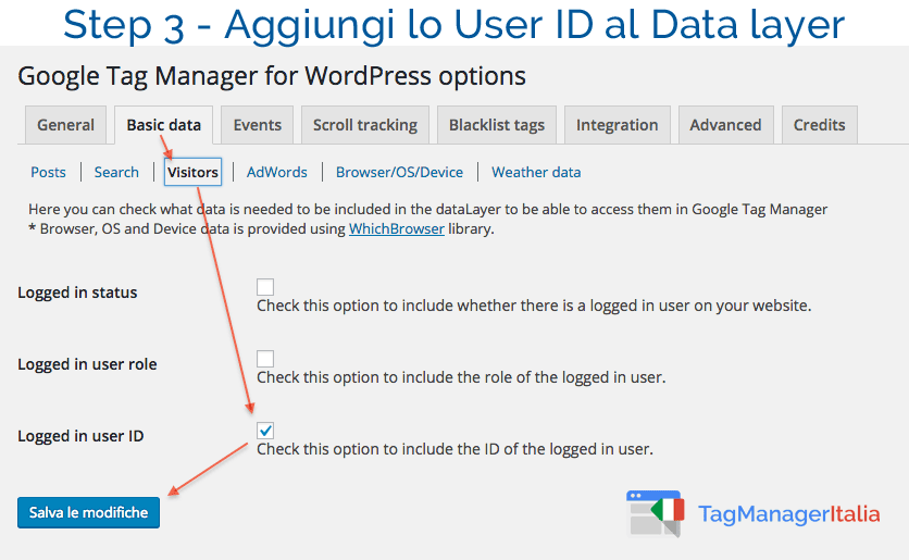 aggiungi user id a data layer