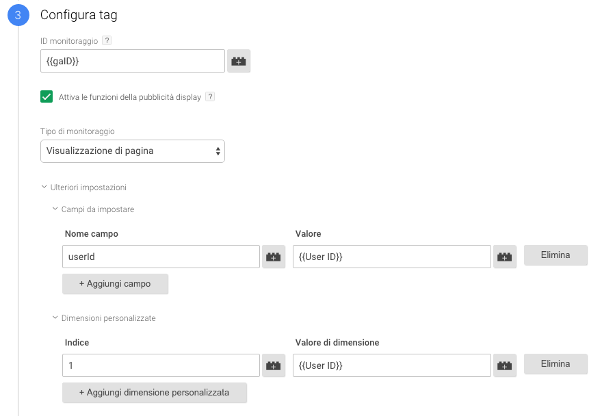 modifica il tag di google analytics