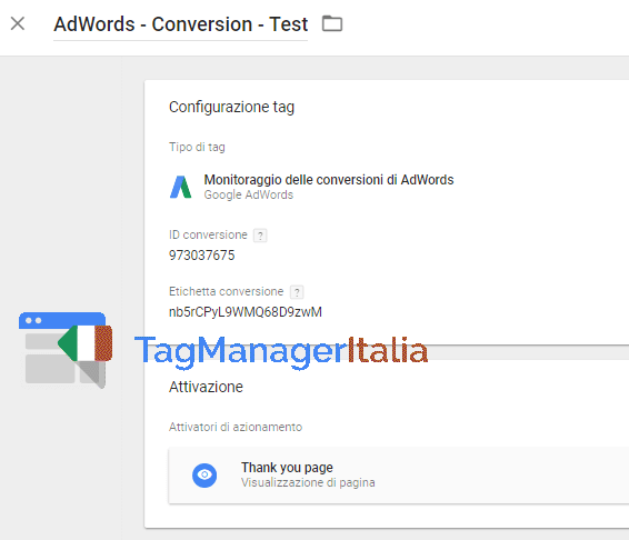 tag conversioni adwords google tag manager