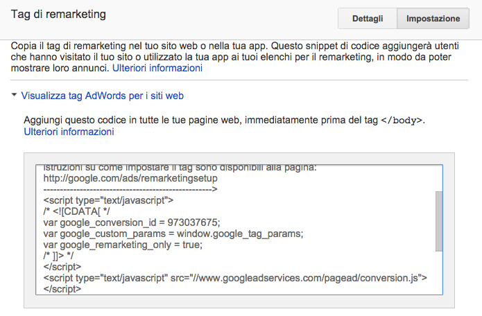 tag di remarketing google adwords