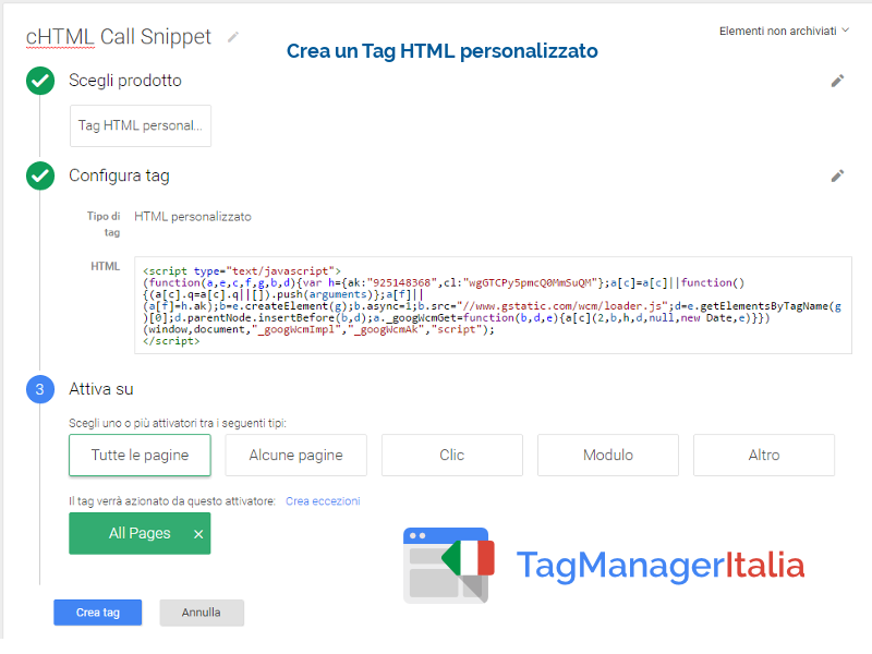conversione telefono adwords snippet tag manager