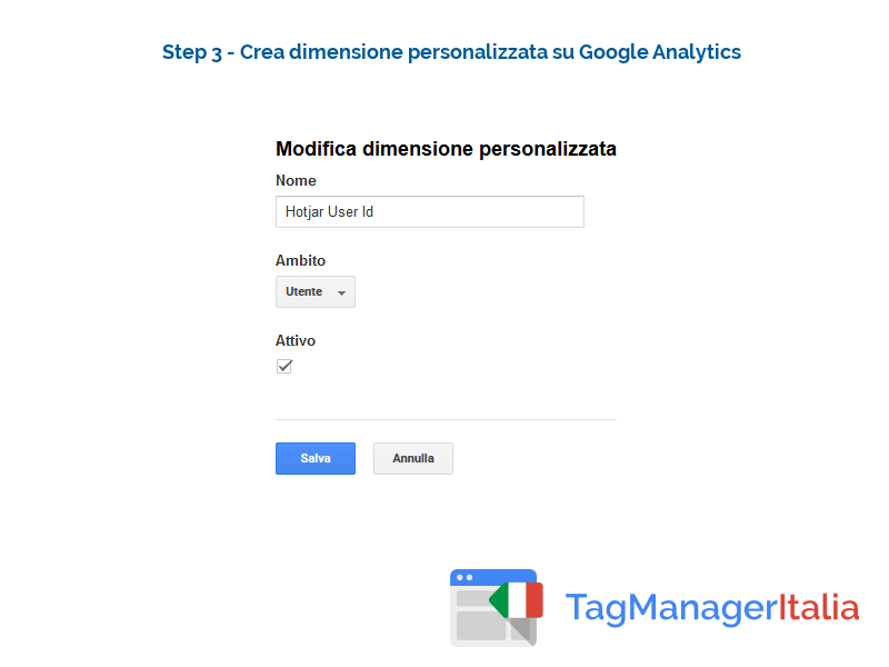 google analytics hotjar - dimensione personalizzata google analytics