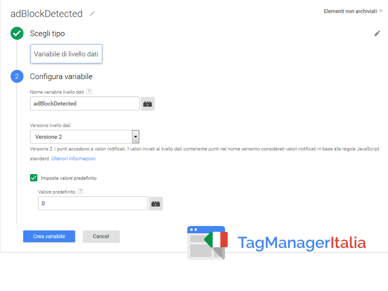 google tag manager tracciare adblock - variabile datalayer