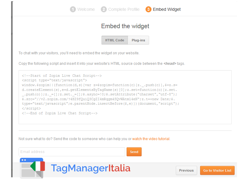 guida base zopim chat snippet google tag manager