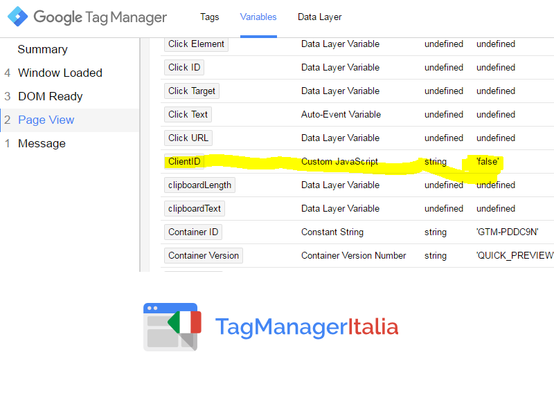 step2 - debug pageview - variabile client id google tag manager