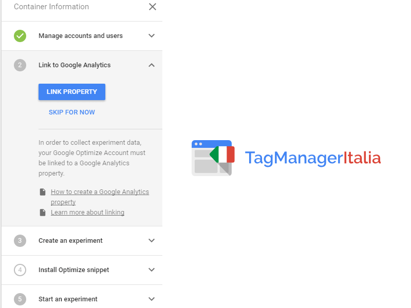 google optimize - google tag container information