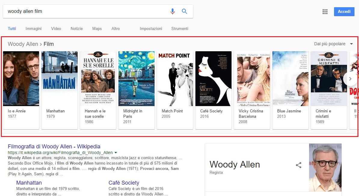 knowledge graph in alto esempio